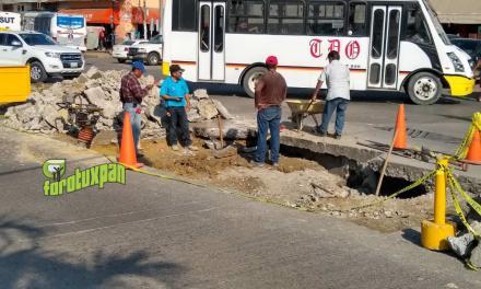 Drenaje fracturado provocó socavón en la avenida Independencia