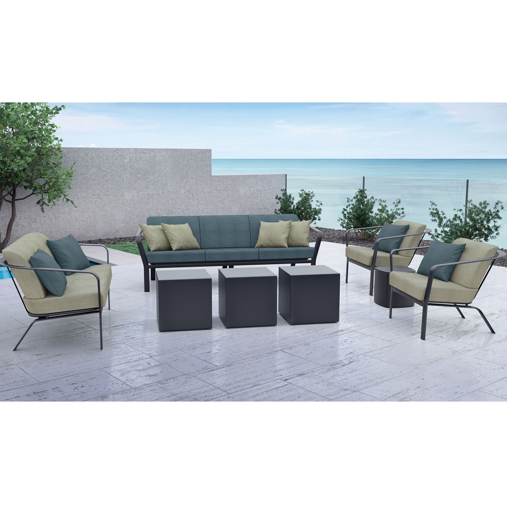open cushion outdoor furniture set with square cube tables tropitone at forpatio com
