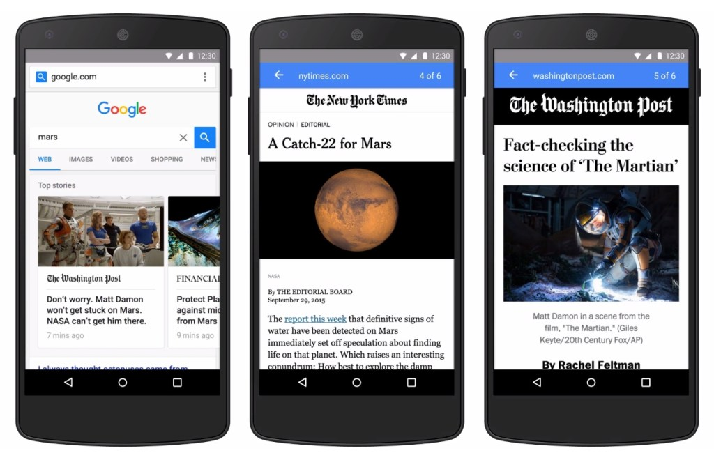 Google's AMP Project provides fast news sources for mobile users.