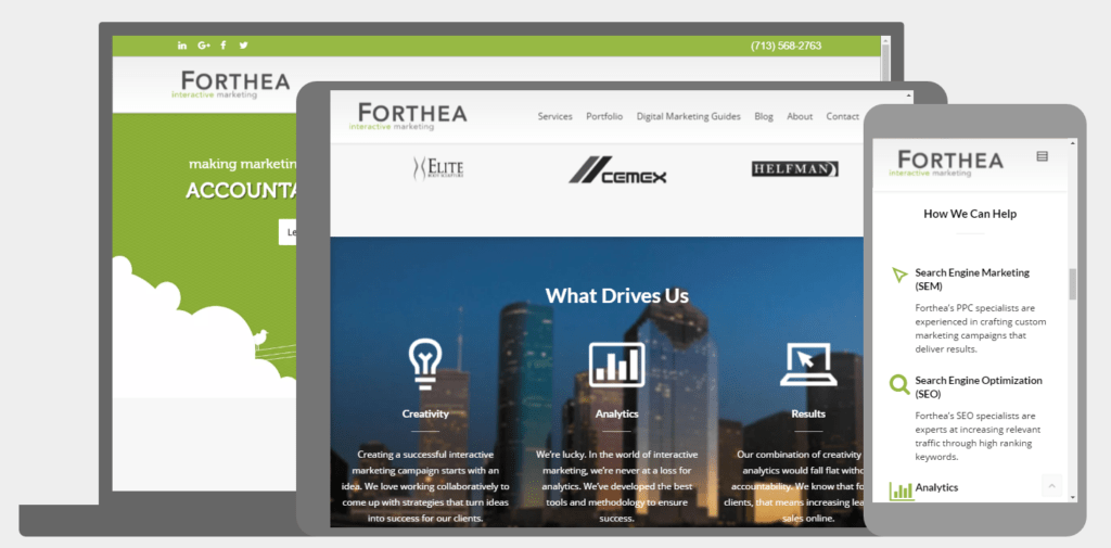Forthea Interactive provides responsive web design which follows Google's Mobile First focus.