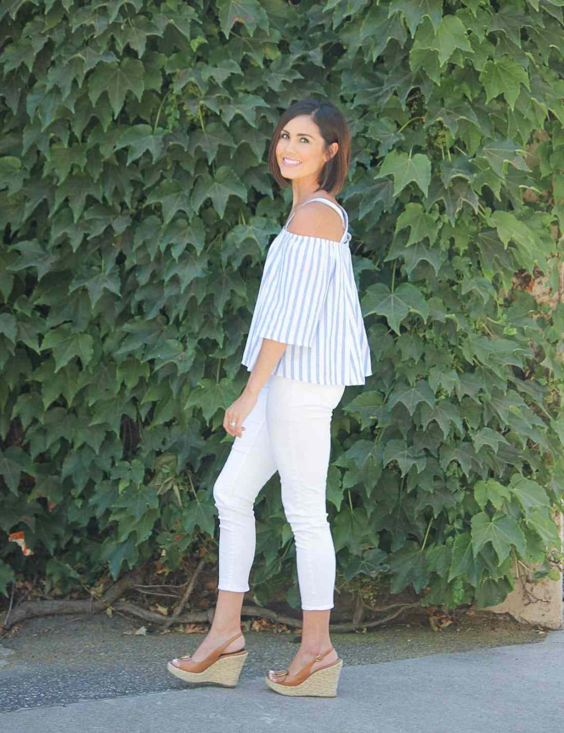 White Crops and Blue & White Cold Shoulder Top