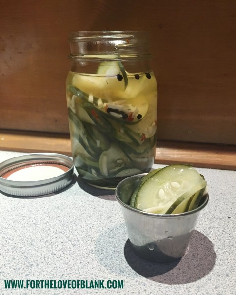 Pickles are the perfect snack. Crisp and Tangy and oh so delicious. But there is something about the garlic pickles you get at Chili's Bar and Grill that is special. After watching a video about how those pickles were made, I came up with this recipe.