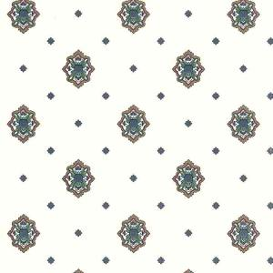 Medallion Vintage Wallpaper Arts Crafts Blue Green VP2033 D/Rs