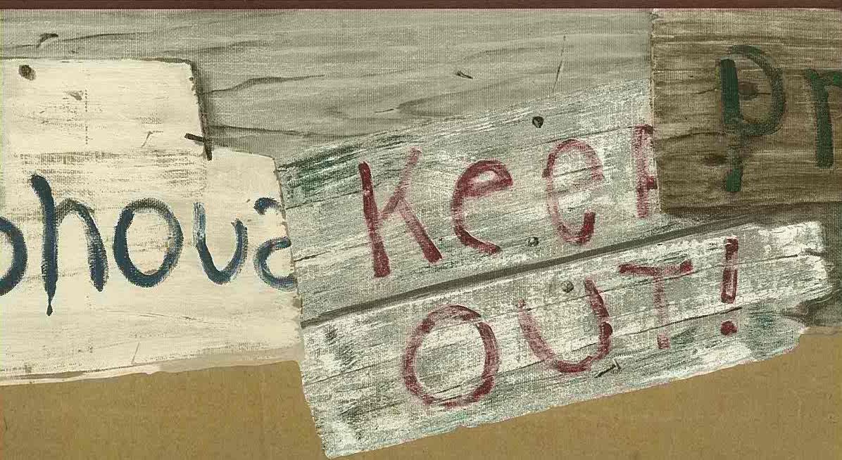 teenage clubhouse wallpaper border, gray, brown, black, red, script, whitewash, cutout