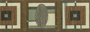 Circle square vintage wallpaper border,geometric,brown,turquoise,faux finish