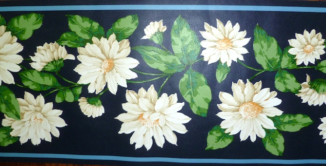 vintage floral border shasta daisies, navy blue, green, white, cottage, bedroom