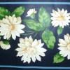 vintage floral border shasta daisies, navy blue, green, white, cottage, bedroom