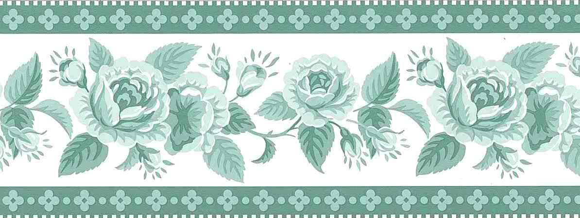 green roses vintage wallpaper border, Waverly, Off-White, roses, cottage
