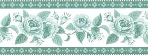 green roses vintage wallpaper border, Waverly, Off-White, roses, cottage