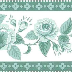 Green Roses Vintage Wallpaper Border Waverly Floral 560062 FREE Ship