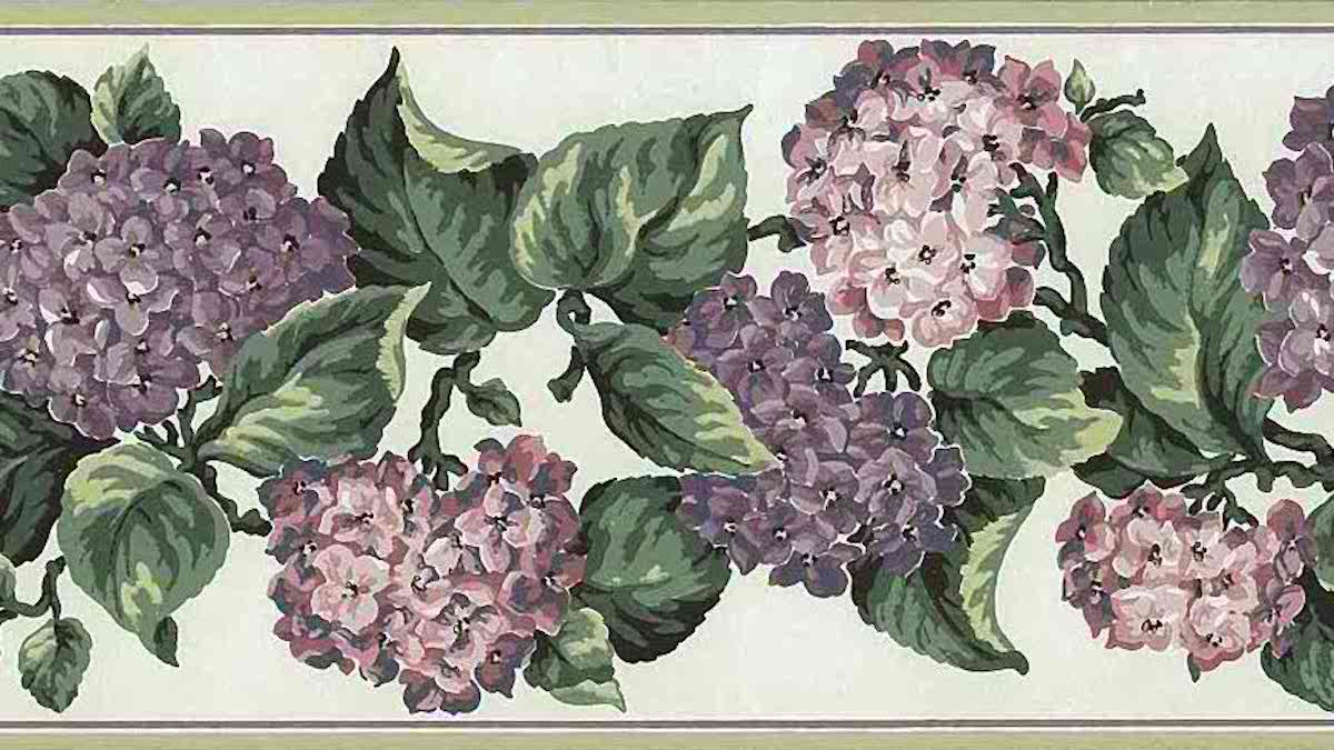 Purple Lilac Vintage Wallpaper Border Green Ca16801
