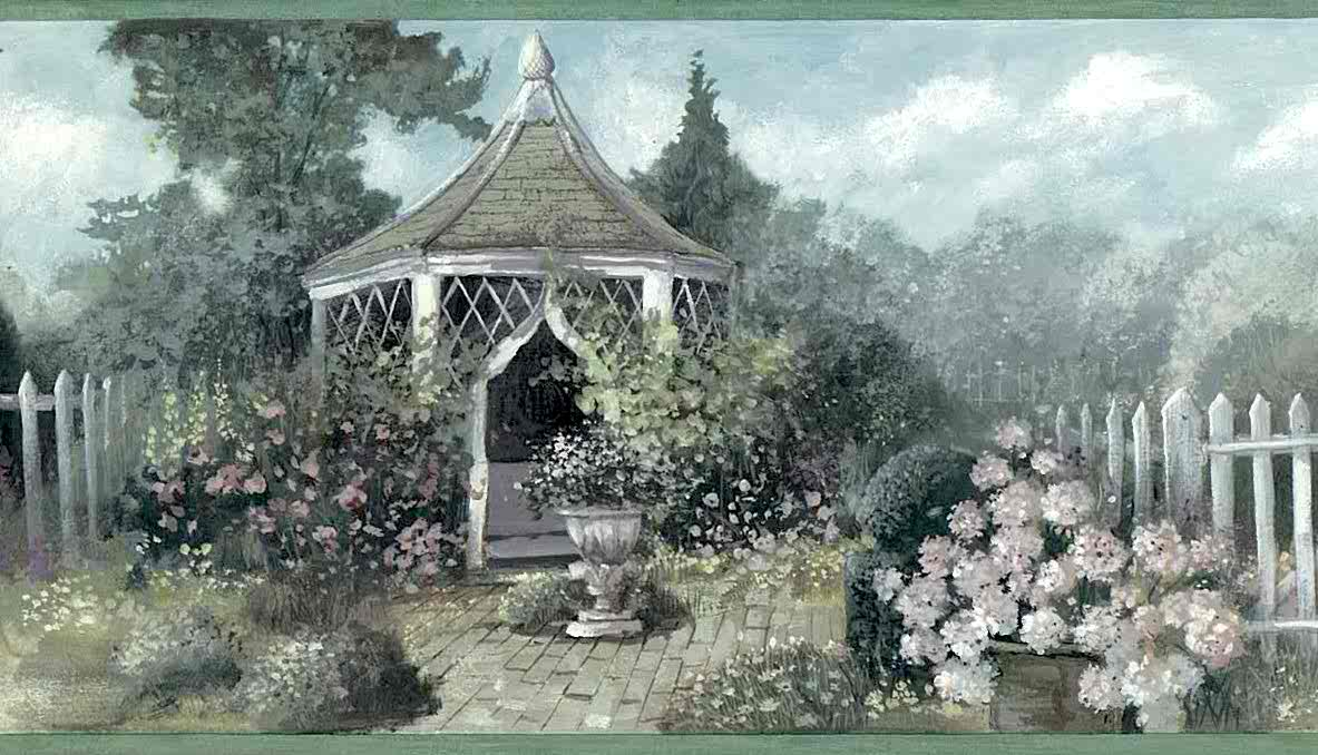 garden vintage wallpaper border, gazebo, hydrangeas, lattice, green, purple, blue, cottage, kitchen, dining room, bedroom, sun room
