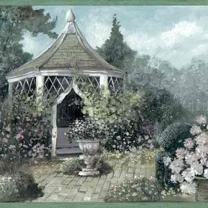 Garden Vintage Wallpaper Border Floral Gazebo ZW10234B FREE Ship