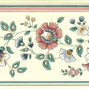Rose Green Vintage Floral Wall Border Paisley Cottage AW3071 FREE Ship
