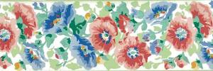 Laura Ashley floral vintage border, green, blue, red-pink, off-white, English cottage, bedroom