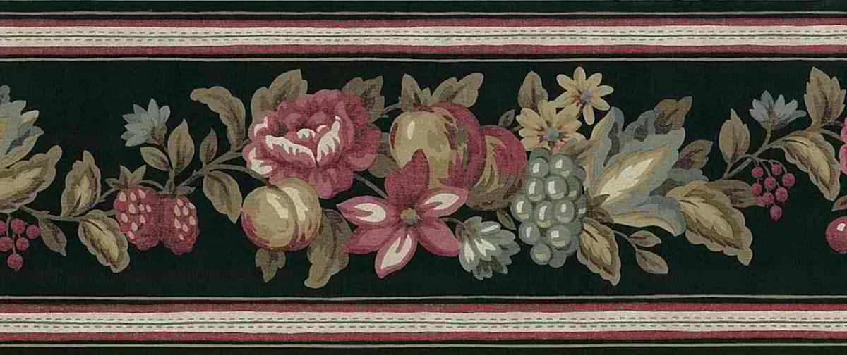 black floral vintage wallpaper border,kitchen,roses,red,taupe,green,fruit,peaches,grapes,berries,cottage
