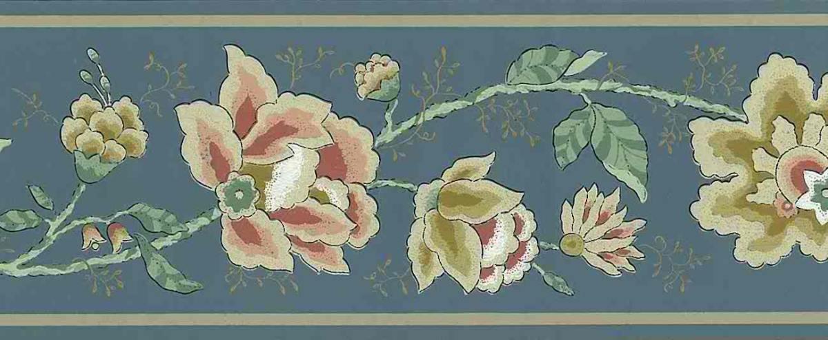 Slate Blue paisley floral border
