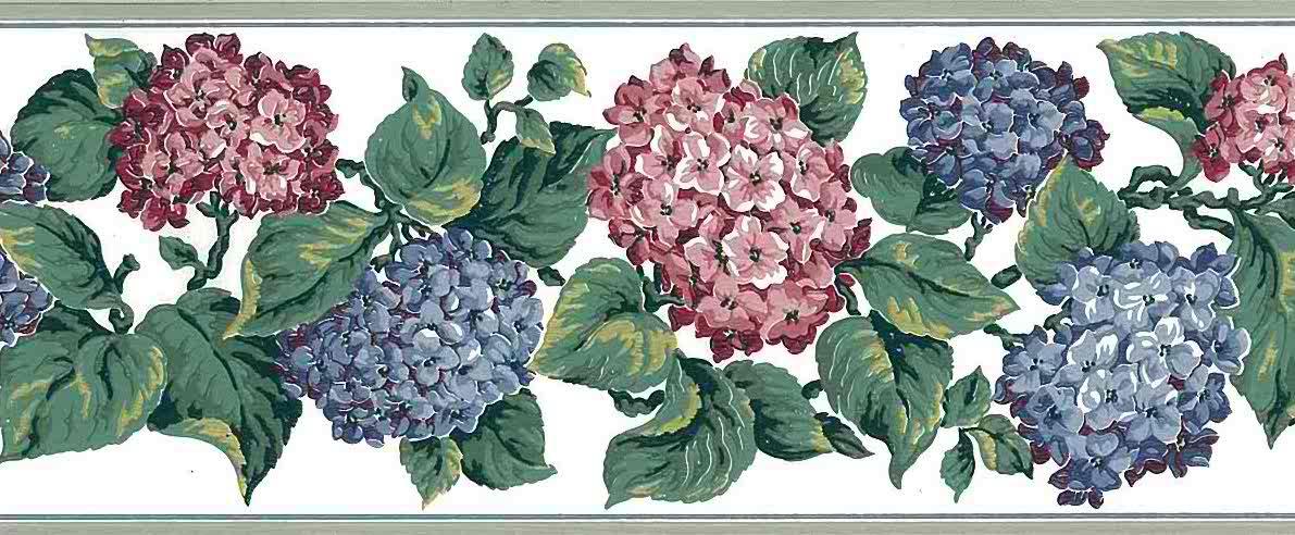 hydrangea vintage wallpaper border, blue, pink, green, hydrangeas, cottage, bedroom, floral, flowers