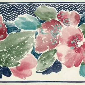 Watercolor Floral Vintage Wallpaper Border Navy KM3054B FREE Ship