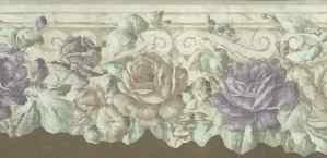 roses vintage wallpaper border, purple, green, Victorian, cutout, morning glories, bedroom, floral, flowers