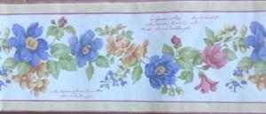 Script floral vintage wallpaper border, peach, blue, rose