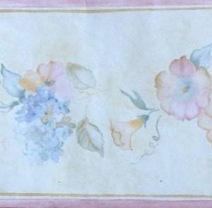 Hydrangeas Vintage Wallpaper Border Floral Girls B.0646 FREE Ship