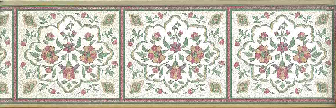 vintage floral wallpaper border, cottage, stylized flowers, beige, red, green, textured, faux finish, vintage wallpaper border
