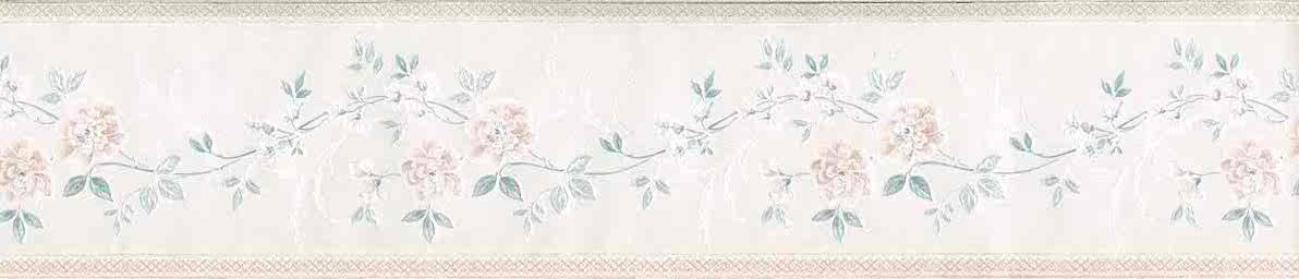 satin floral vintage wallpaper border, pink, green, UK, off-white,