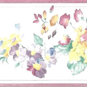 Summer Floral Vintage Style Wallpaper Border Pink AKT5121B FREE Ship