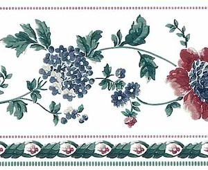 Stencil Vintage Wallpaper Border Floral Cottage Red Blue 588463 FREE Ship