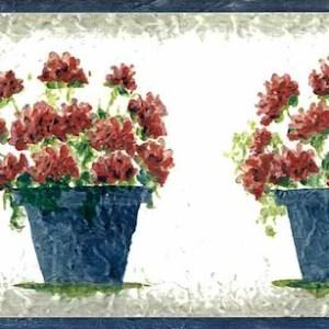 Geraniums Vintage Wallpaper Border Floral Red Blue SYL8003 FREE Ship