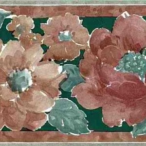 Rust Floral Vintage Wallpaper Border Green Brown UK 5061 FREE Ship