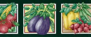 veggies kitchen vintage wallpaper border, green, red, leaves, kitchen, eggplant, corn, green beans, tomatoes, beets