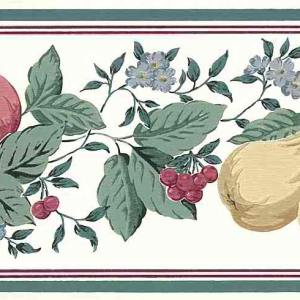 Pears Peaches Cherries Vintage Wallpaper Border Kitchen GH16316 FREE Ship