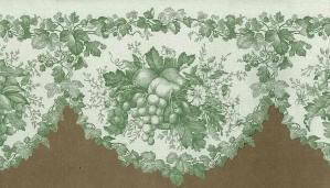 green cutout vintage kitchen border, off-white, scalloped edge, cottage, ivy