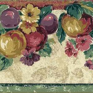Vintage Wallpaper Border Kitchen Fruit Green Red KS19827 FREE Ship