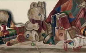 childrens toys wallpaper border, blocks, teddy bear, train,crayons, books, quilt, beige, red, green, Americana