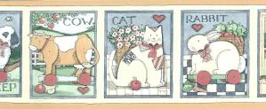 vintage animal wallpaper border, cat, hen, cow, sheep, rabbit, children's, kids, playroom, bedroom, country, Americana
