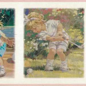 Children's Vintage Wallpaper Border Girls Sports PR4053B FREE Ship