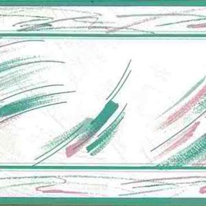 Vintage Brushstrokes Wallpaper Border Kitchen Pink Teal 161 FREE Ship