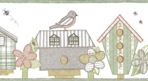 quilted bird houswes wallpaper border, Americana, cottage, green, taupe, off-white, rust, birds, flowers, floral,
