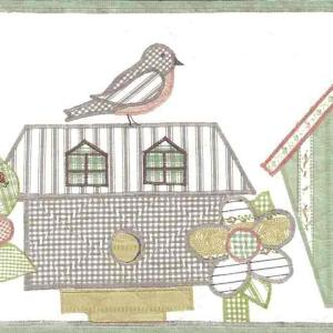 Quilted Bird Houses Wallpaper Border Green Cottage WV7425 FREE Ship