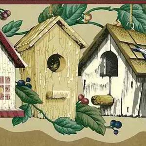 Birdhouses Vintage Wallpaper Border Red Beige PIE4041 FREE Ship