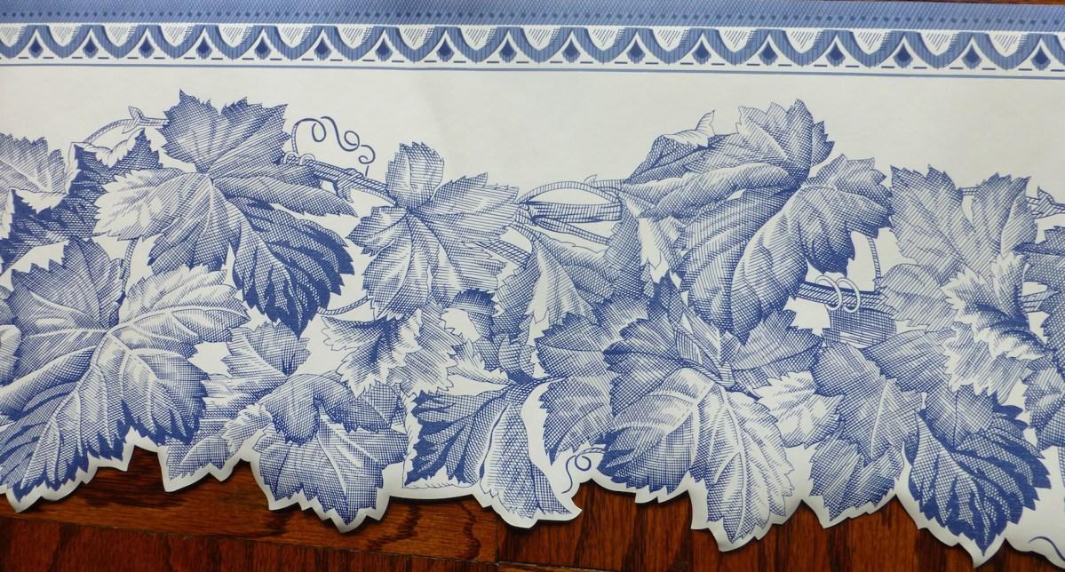 blue leaf vintage border, wallpaper border, cutout, Waverly, white, bedroom, cottage
