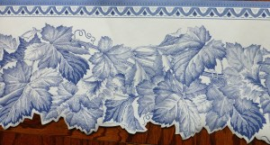 blue leaf vintage border, wallpaper border, cutout, Waverly, white, bedroom, cottage
