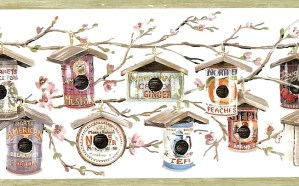 birdhouses food cans vintage wallpaper border, cheerry blossoms brown, gray