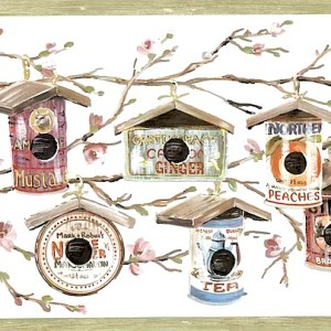 Birdhouses Food Cans Vintage Wallpaper Border Kitchen 160235 FREE Ship