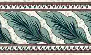 Green Leaves Vintage Wallpaper Border B.1291 FREE Ship