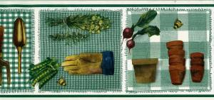 gardening tools kitchen border, wallpaper border, trowel, beets, peas, herbs, green, white, check