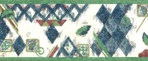 Diamond vintage wallpaper border, blue, green, red, off-white, faux finish, squares, swirls, leaves
